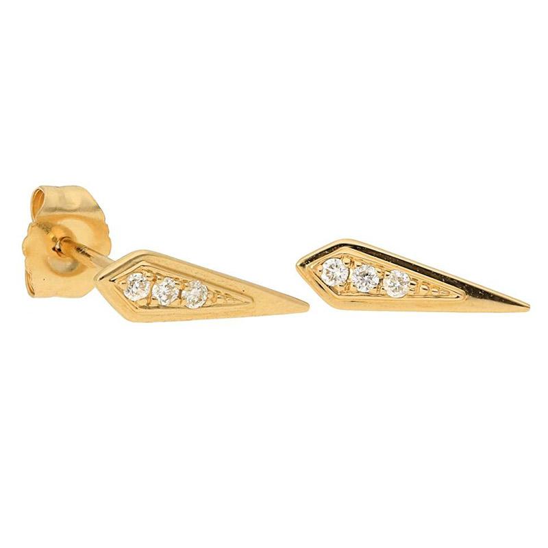Deutsch Signature Shield Diamond Stud Earrings