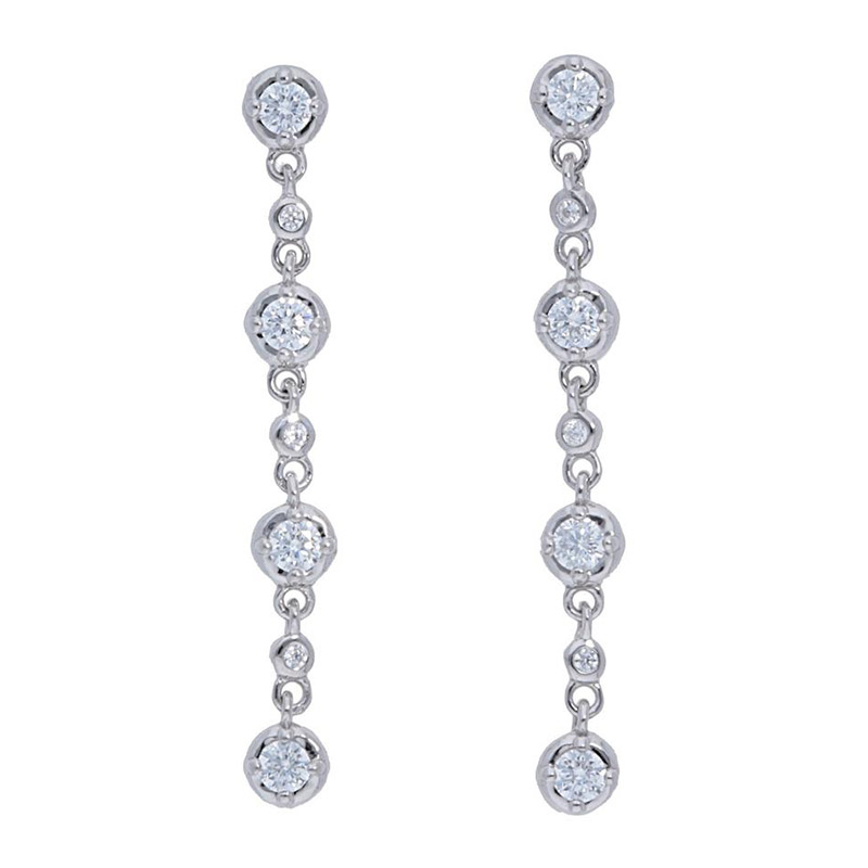 Deutsch Signature Diamond Bezel Prong Drop Stud Earrings