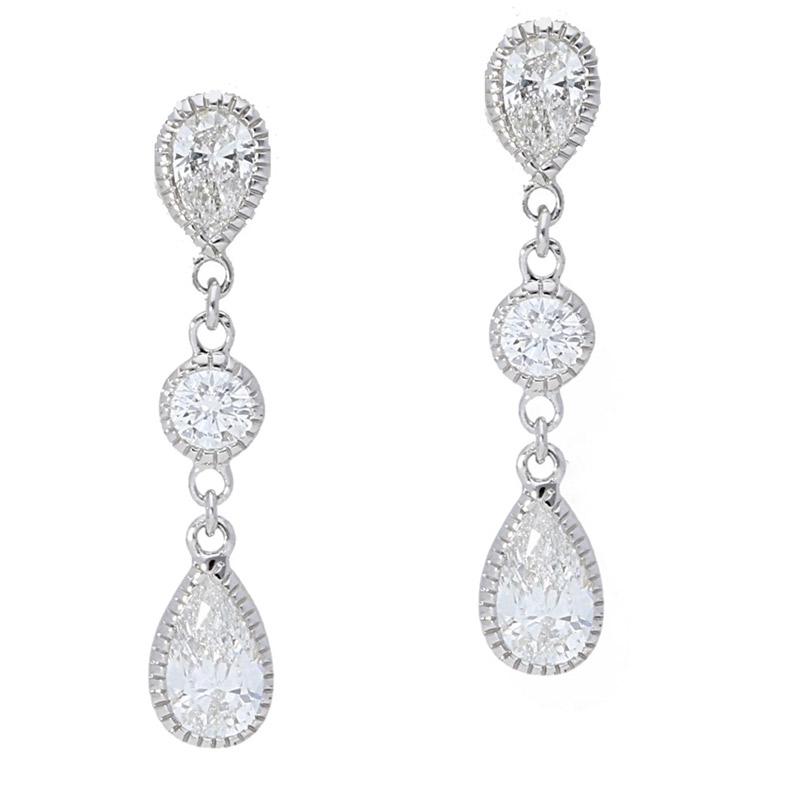 Deutsch Signature Bezel Set Pear Shape Diamond  Drop Earrings
