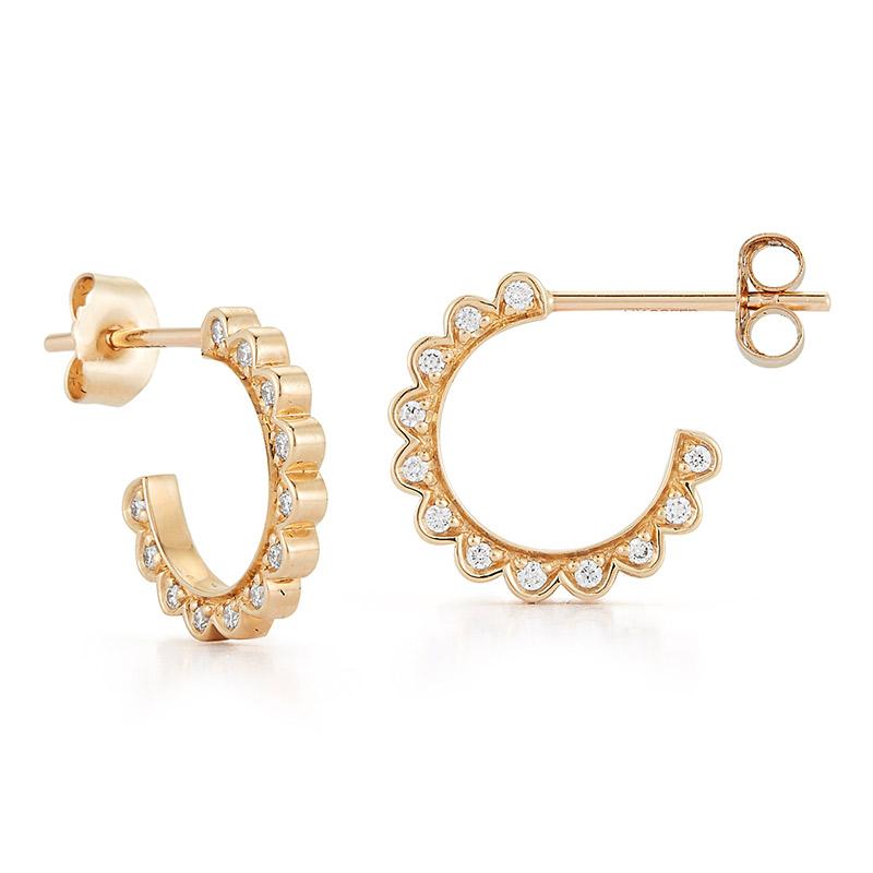 Deutsch Signature Side Diamond Stud Hoop Earrings