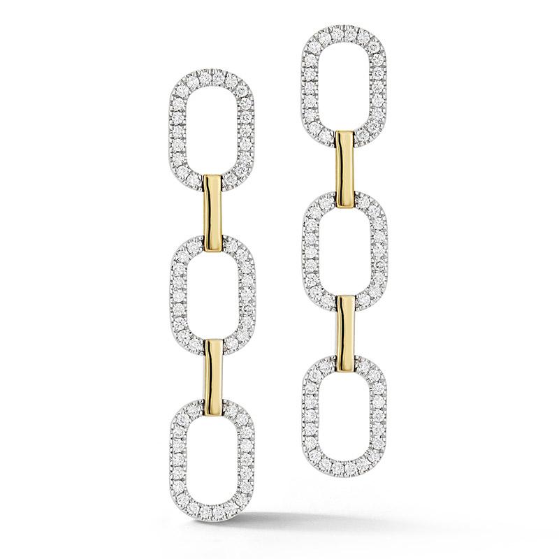 Deutsch Signature Pave Diamond Link Drop Earrings