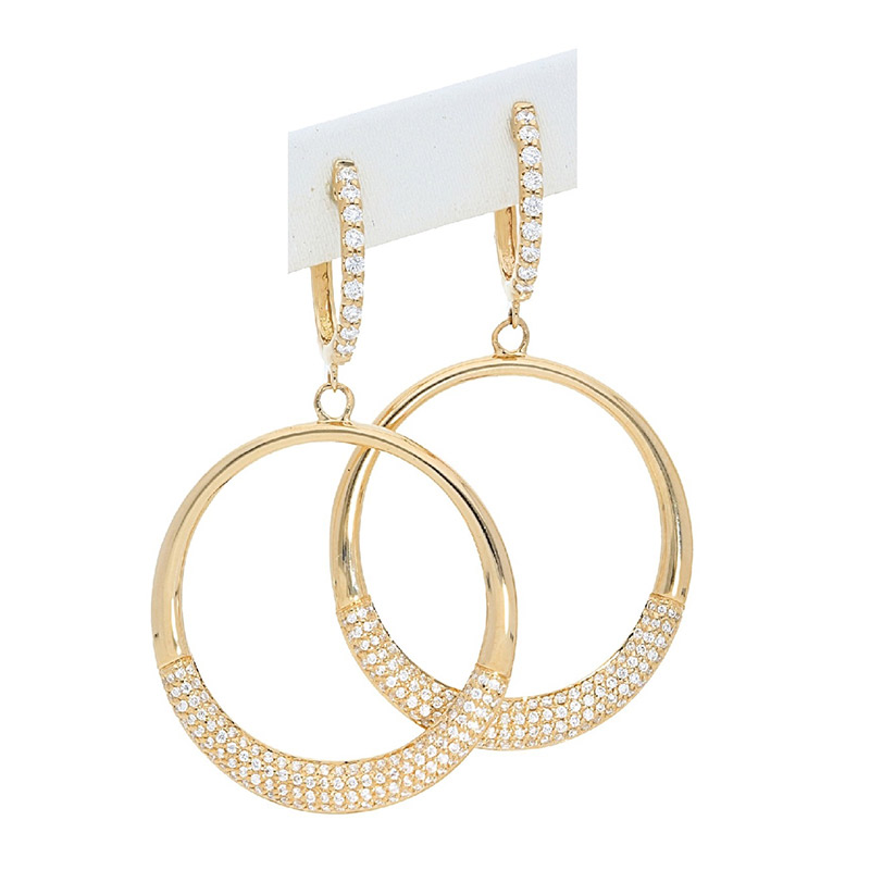 Deutsch Signature Half Diamond and Polished Open Circle Drop Earrings
