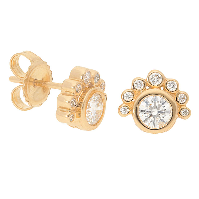 Deutsch Signature Bezel Set Multi Diamonds Stud Earrings