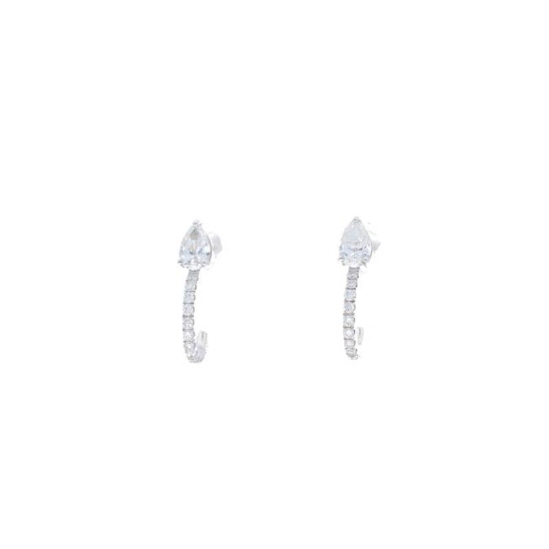 Deutsch Signature Pear Diamond Stud Earring with Pave Diamond