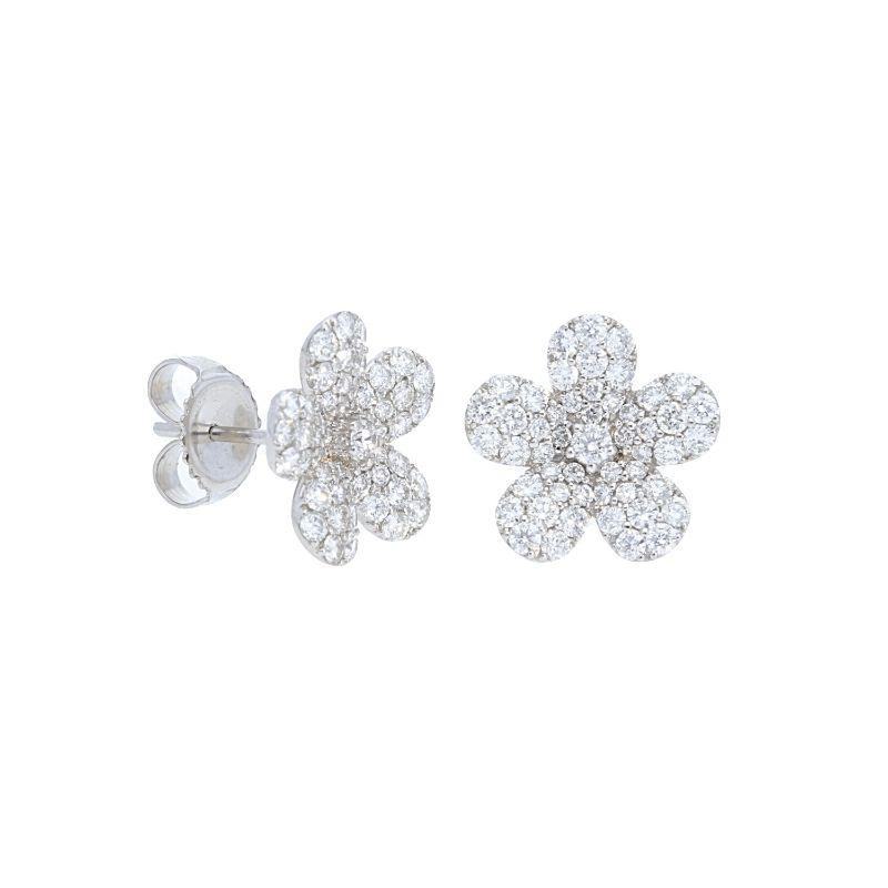 Deutsch Signature Flower Pave Diamond Studs