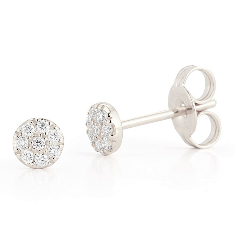 Deutsch Signature Round Shape Diamond Stud Earrings