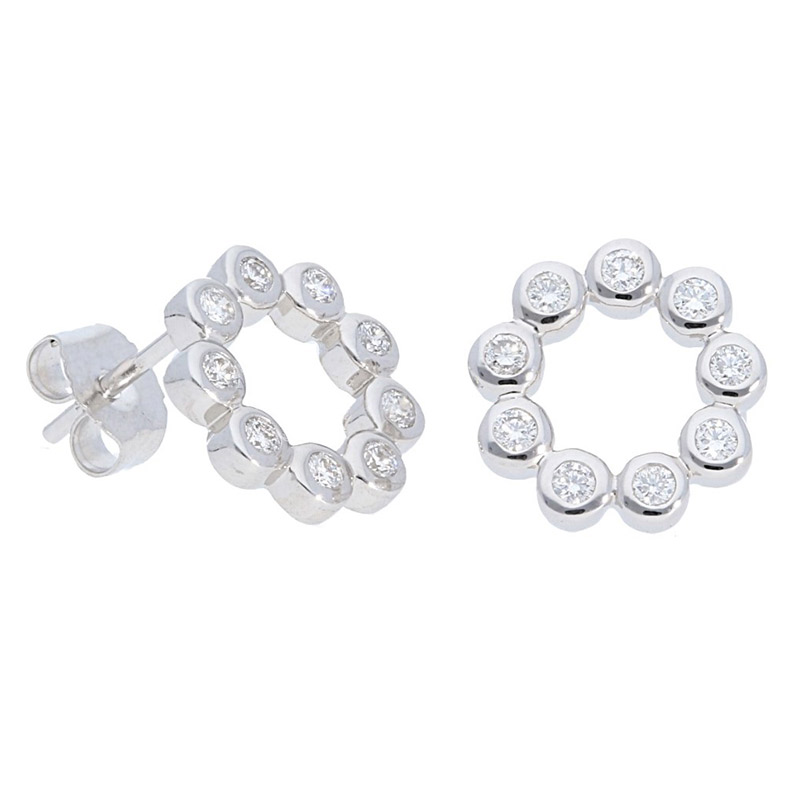 Deutsch Signature Bezel Set Diamond Circle Stud Earrings