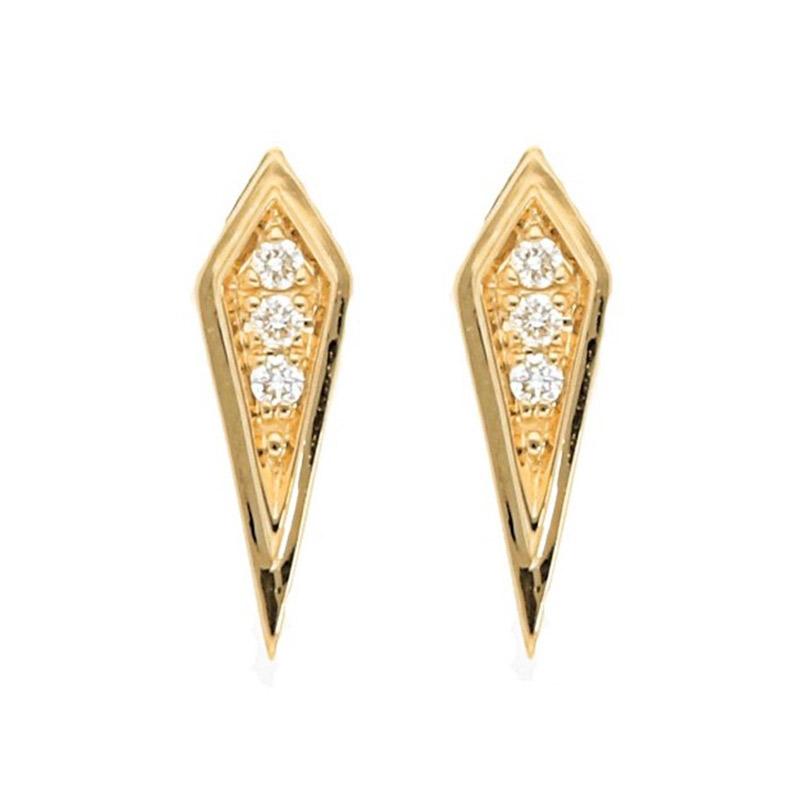 Deutsch Signature Diamond Mini Kite Shape Stud Earrings