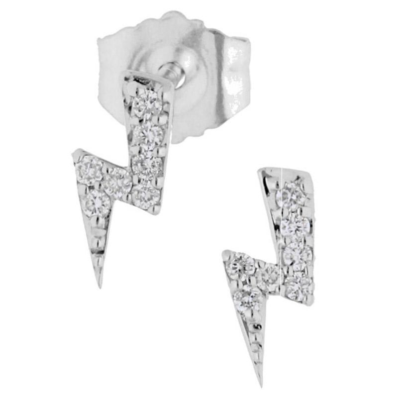 Deutsch Signature Mini Diamond Lightning Bolt Stud Earrings