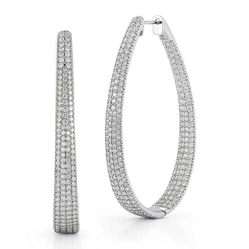 Deutsch Signature Oval Shape Diamond Hoop Earrings
