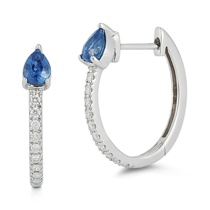 Deutsch Signature Diamond Huggie with Pear Blue Sapphire