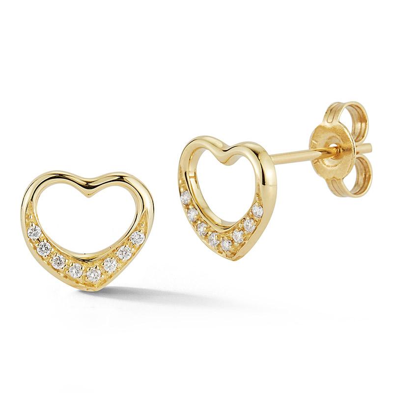 Deutsch Signature Diamond Heart Stud Earrings