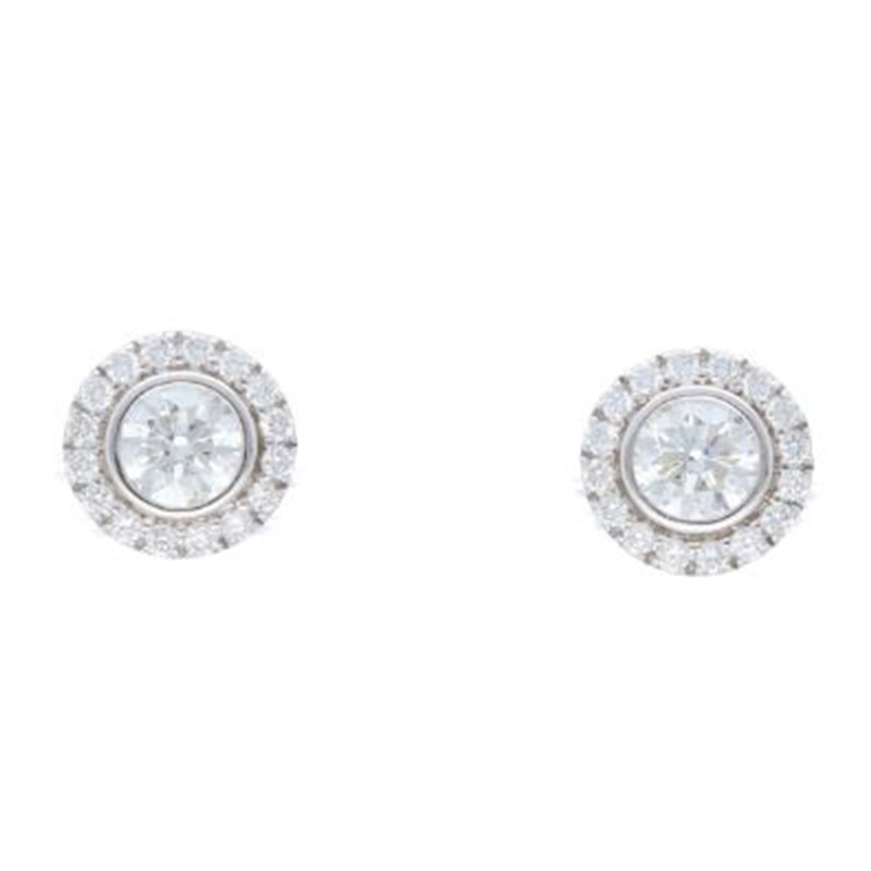 Deutsch Signature Halo Bezel Diamond Stud Earrings