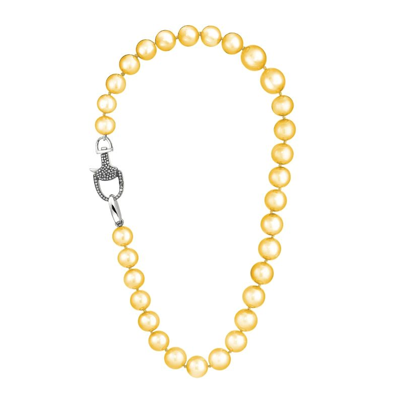 Vincent Peach Equestrian Golden South Sea Pearl Necklace