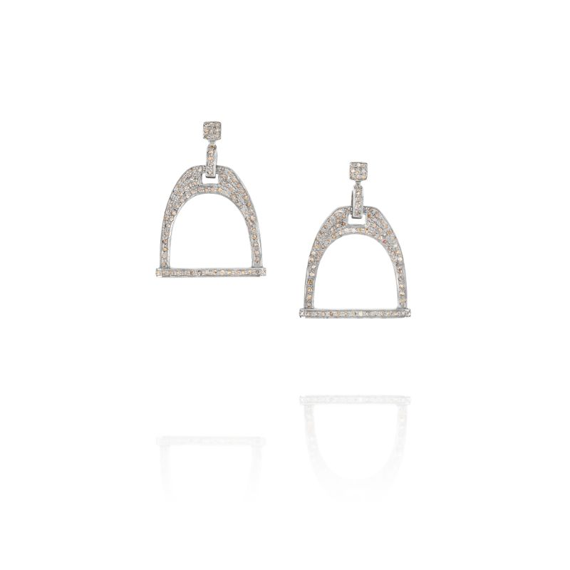 Vincent Peach Equestrian Stirrup Diamond Earrings