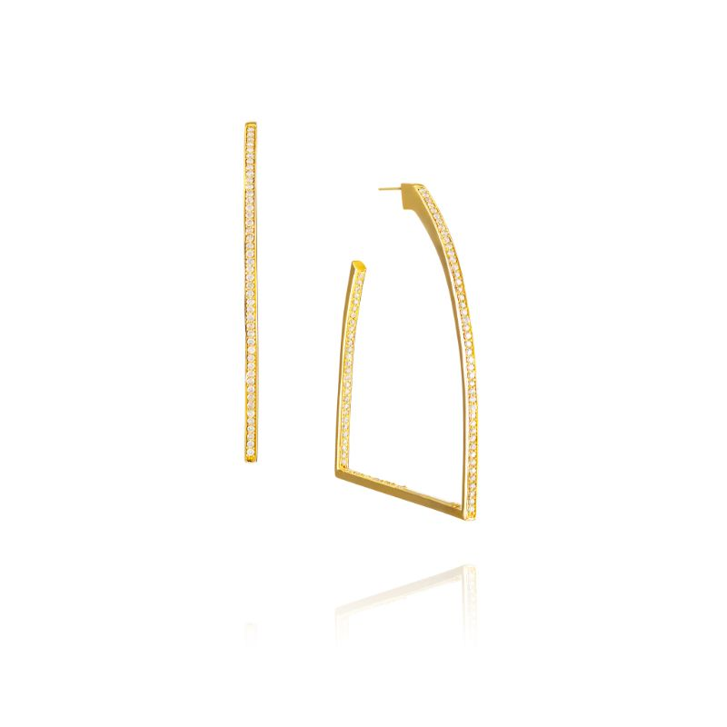 Vincent Peach Gold Stirrup Hoop Earrings