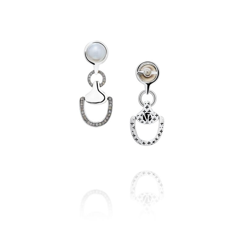 Vincent Peach Churchill Downs Diamond and Freshwater Pearl Earrings
