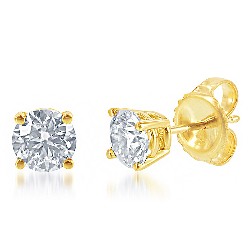 Deutsch Signature 4 Prong Round Diamond Stud Earrings