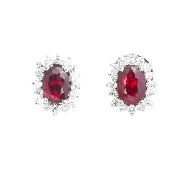 Jye's Ruby and Diamond Halo Flower Earrings