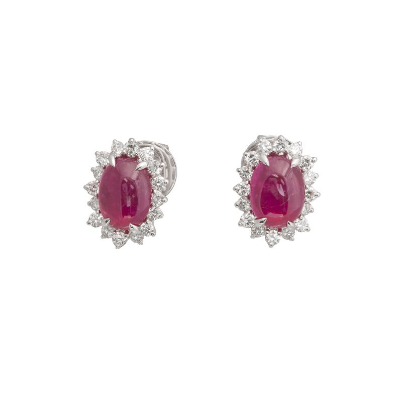 Jye's Oval Ruby and Diamond Halo Flower Earrings