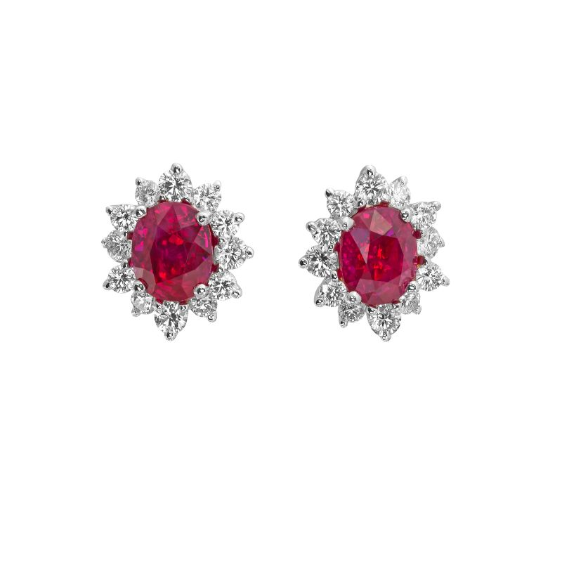 Jye's Oval Ruby and Diamond Halo Earrings