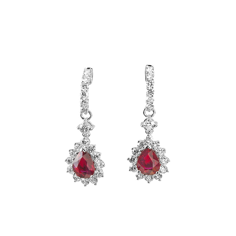 Jye's Ruby and Diamond Halo Earrings