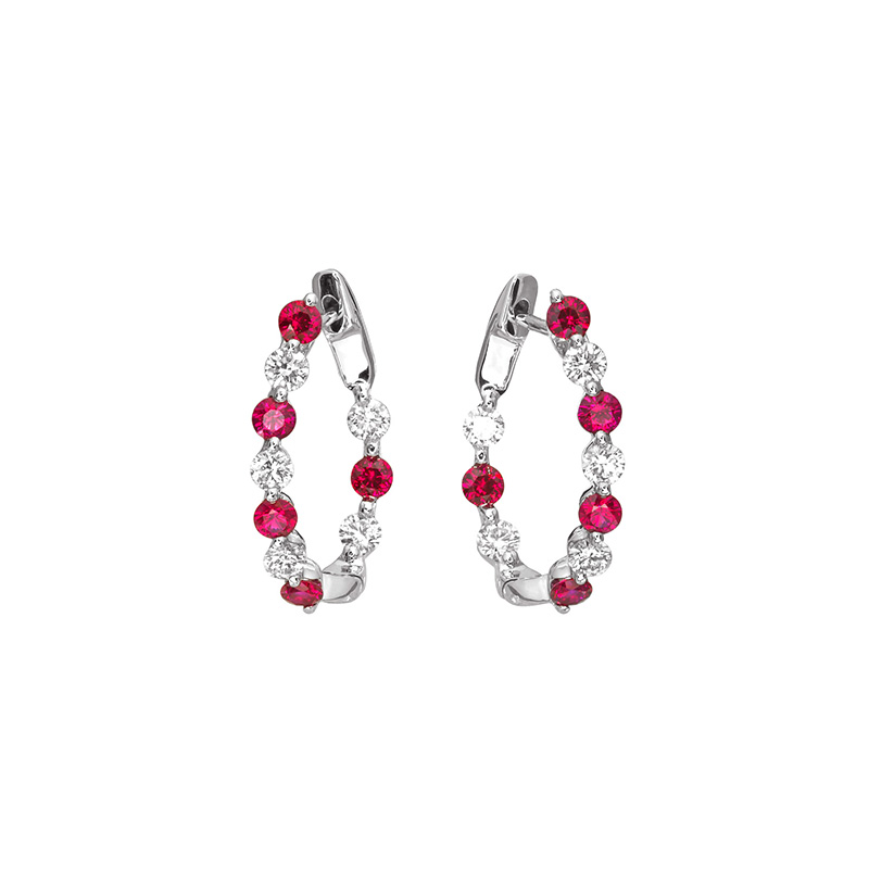 Jye's Alternating Ruby and Diamond Inside Out Hoop Earrings