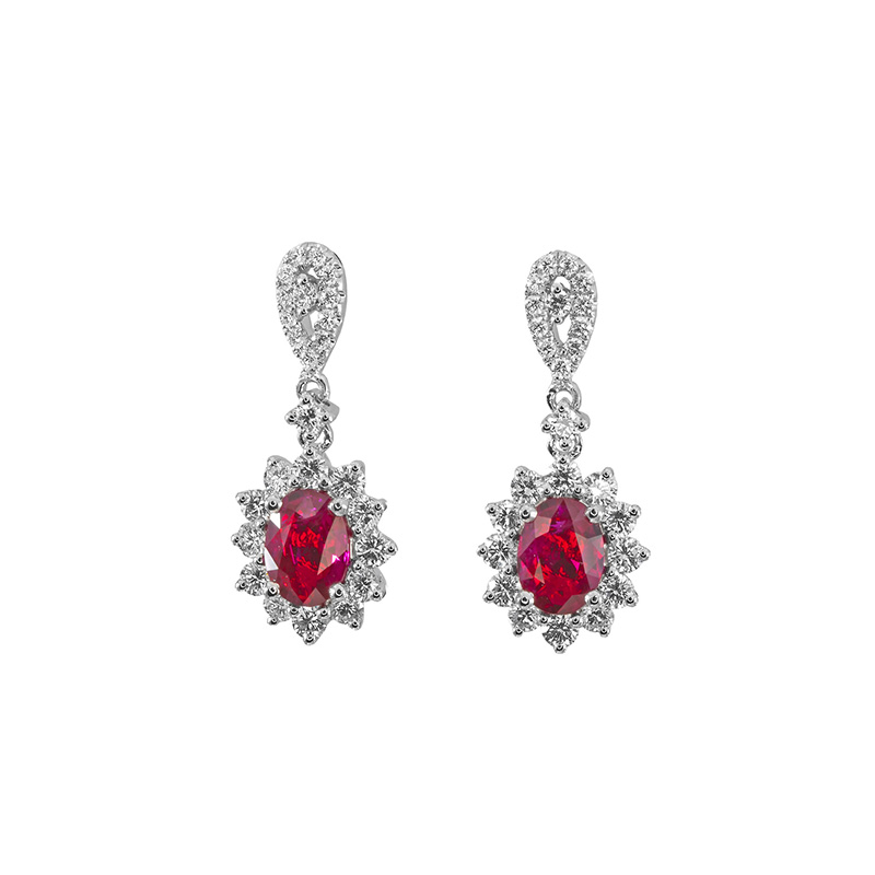 Jye's Oval Ruby and Diamond Halo E$arrings
