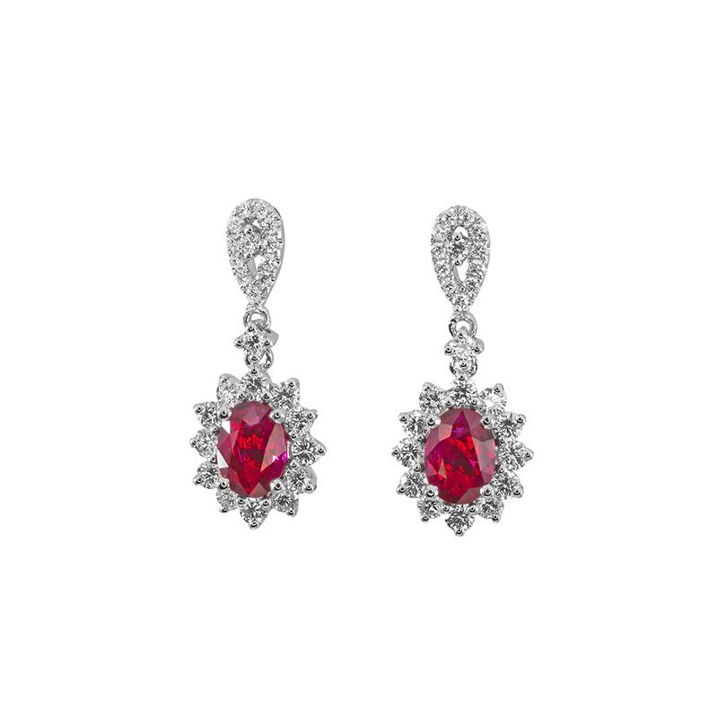 Jye's Oval Ruby and Diamond Halo E$arrings