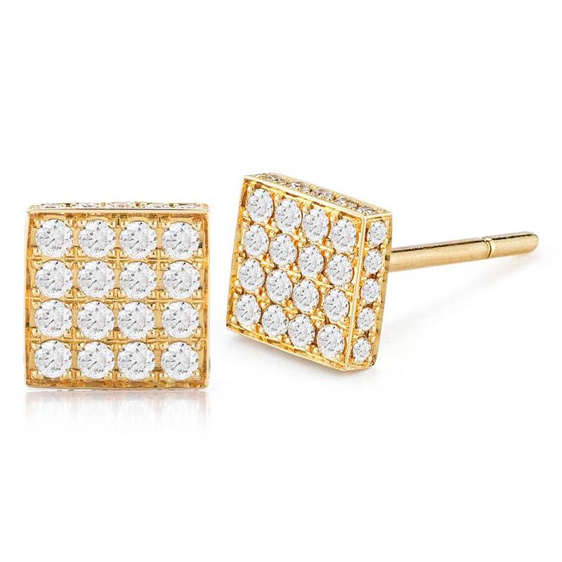 Deutsch Signature Pave Diamond Square Stud Earrings