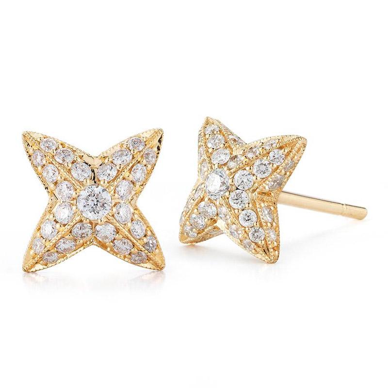 Deutsch Signature Domed Pave Diamond Starfish Stud Earrings