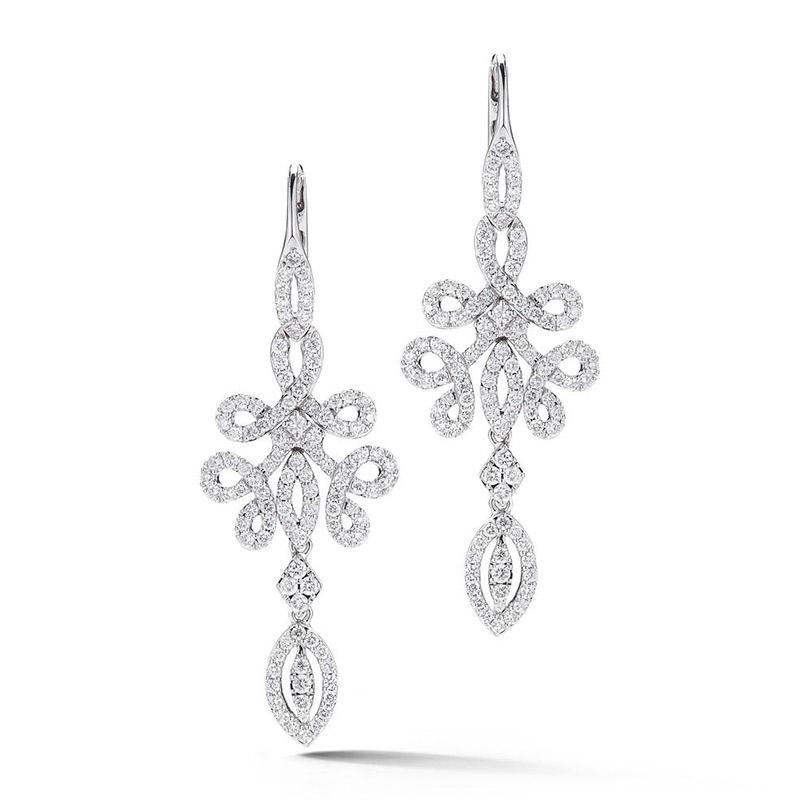 Deutsch Signature Pave Diamond Swirls Chandelier Earrings