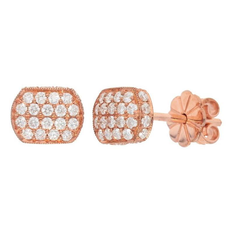 Deutsch Signature Domed Pave Diamond Rectagular Stud Earrings
