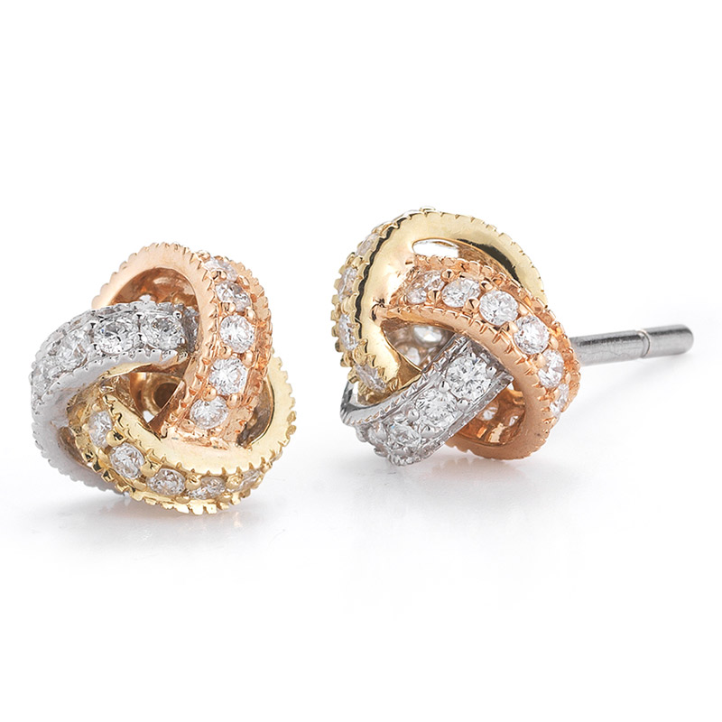 Deutsch Signature Pave Diamond Love Knot Stud Earrings