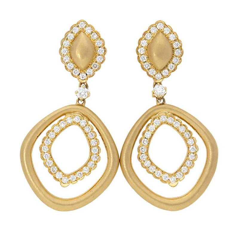 Deutsch Signature Pave Diamond and Satin Gold Drop Stud Earrings