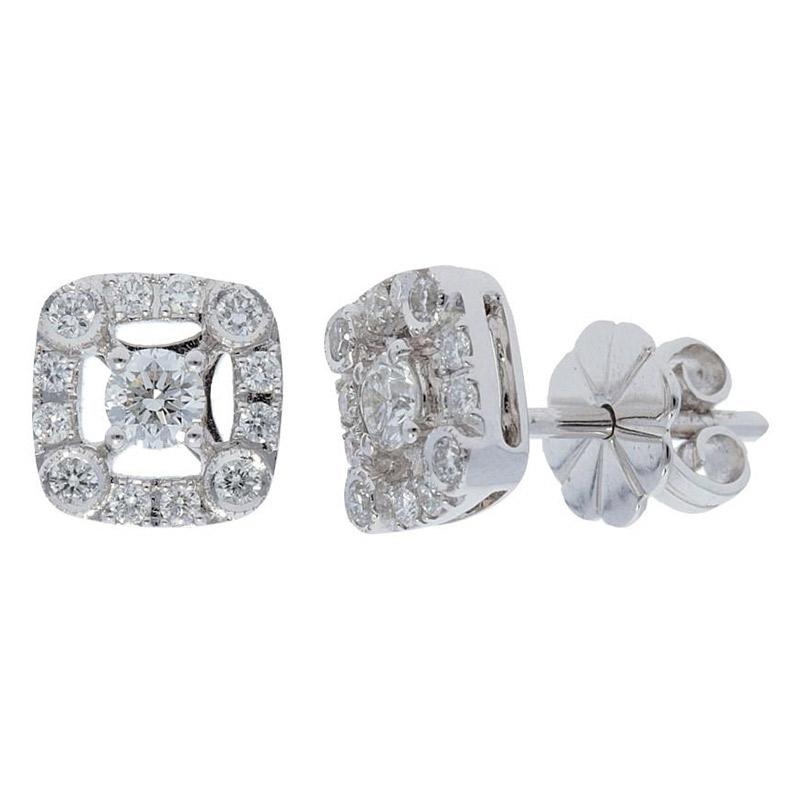 Deutsch Signature Cushion Shape Diamond Stud Earrings