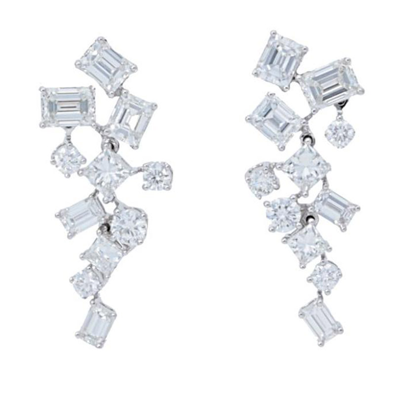 Deutsch Signature Mixed Diamonds Dangle Stud Earrings