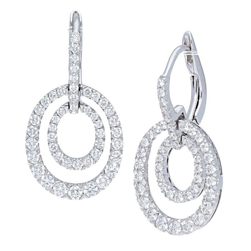 Deutsch Signature Double Pave Diamond Oval Drop Earrings