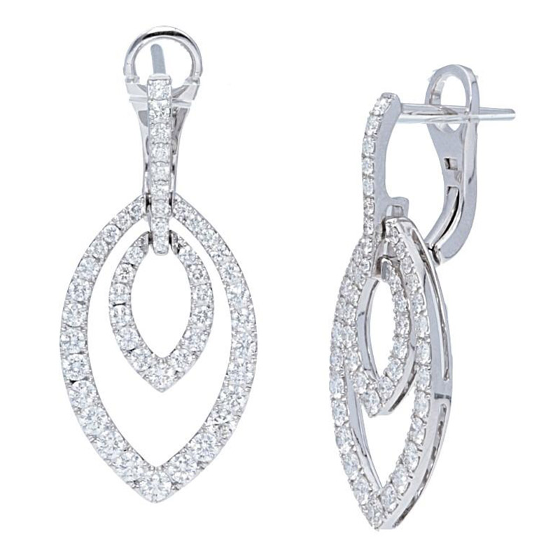 Deutsch Signature Double Pave Diamond Marquise Drop Earrings