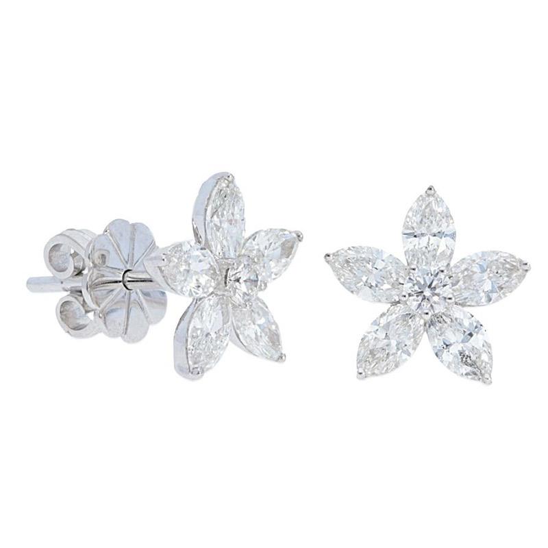 Deutsch Signature Marquise Diamond Flower Stud Earrings