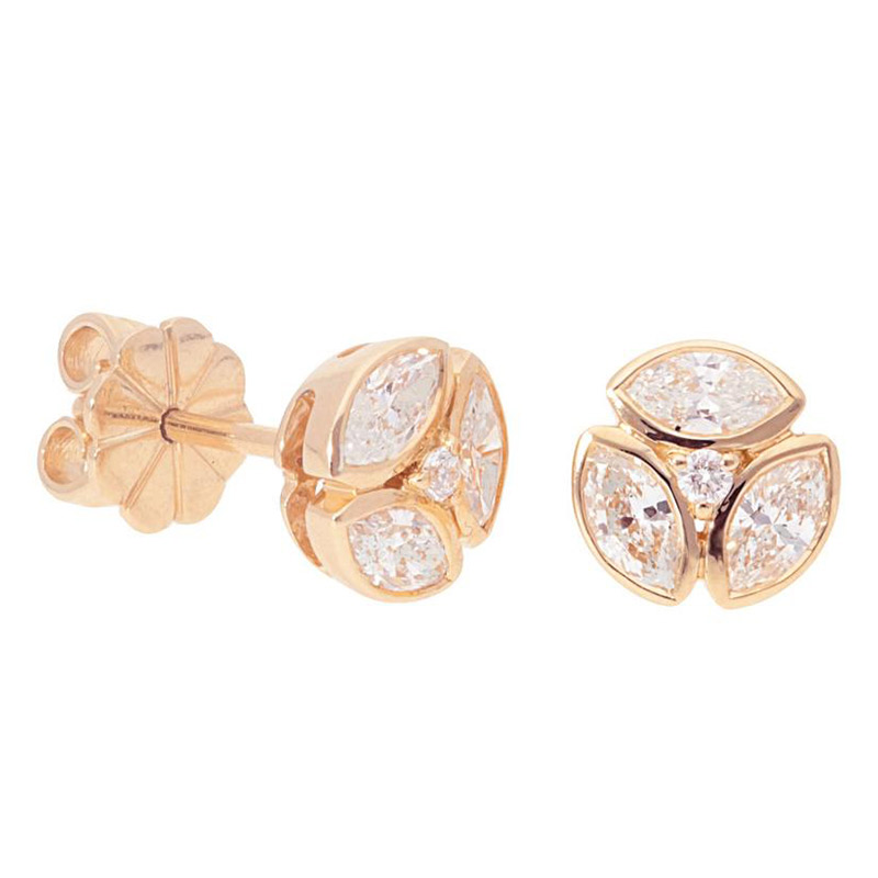 Deutsch Signature Marquise Bezel Cluster Stud Earrings