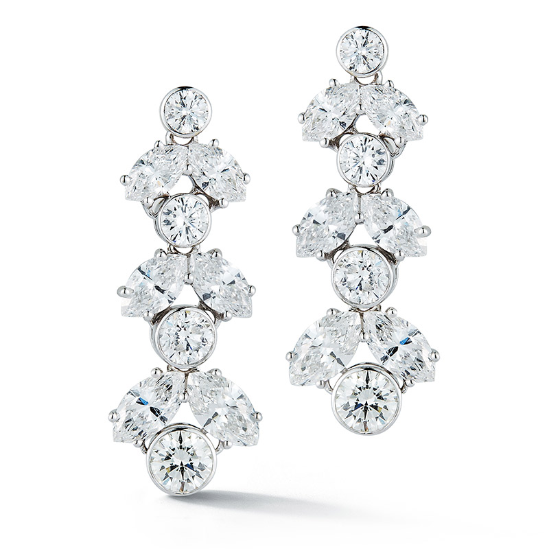 Deutsch Signature Marquise/Round Diamond Drop Earrings