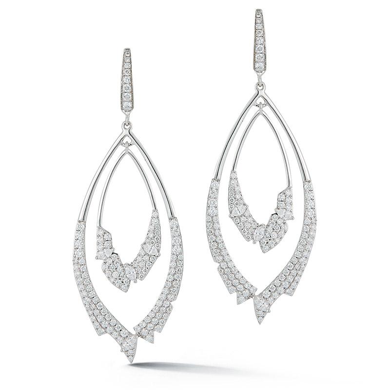 Deutsch Signature Double Open Teardrop Diamond Drop Earrings