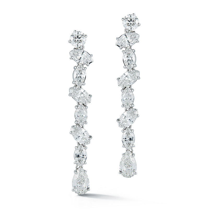 Deutsch Signature Multi-Shaped Diamond Linear Drop Earrings
