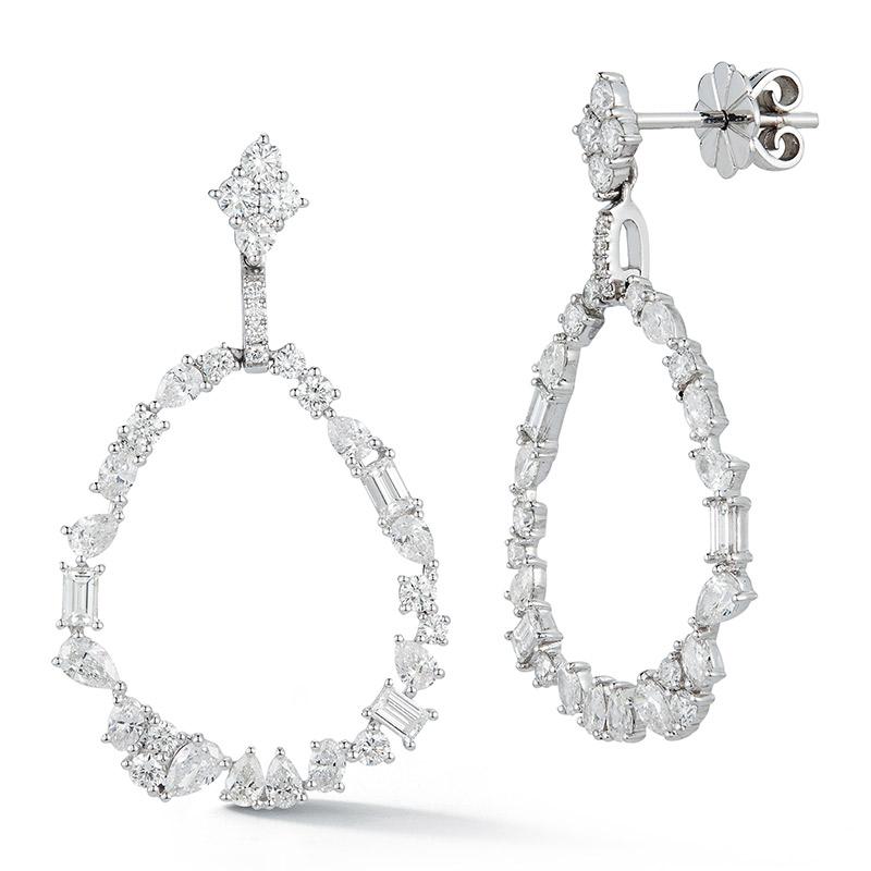 Deutsch Signature Mix Diamond Oval Shape Stud Drop Earrings