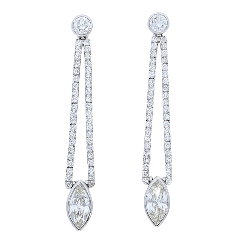 Deutsch Signature Marquise Drop Diamond Earrings