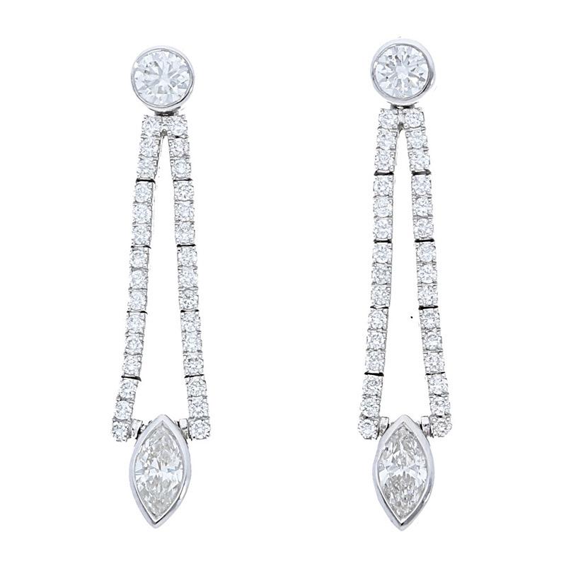 Deutsch Signature Marquise Drop Diamond Earrings