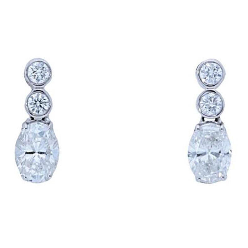 Deutsch Signature Oval Diamond with Double Bezel Stud Earrings