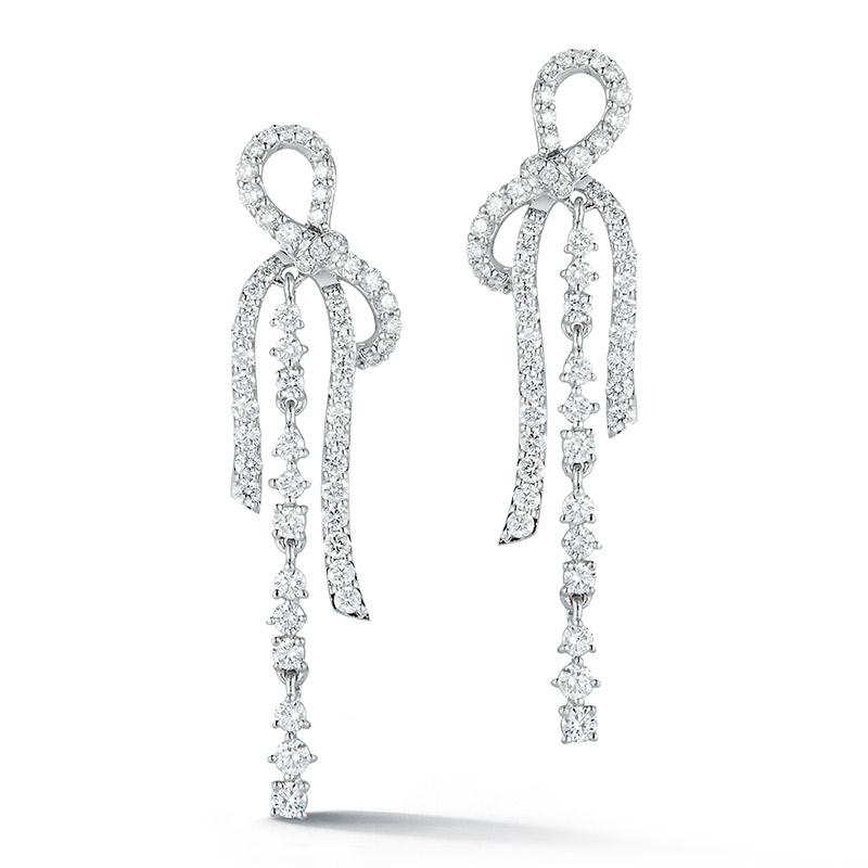 Deutsch Signature Diamond Bow Chandelier Drop Earrings