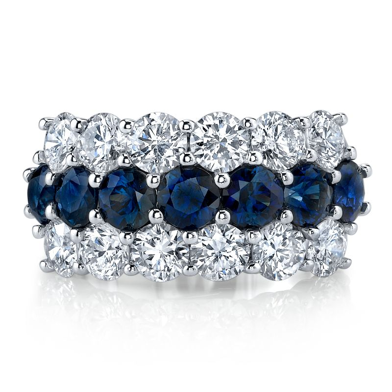 Deutsch Signature Diamond and Sapphire 3 Row Band